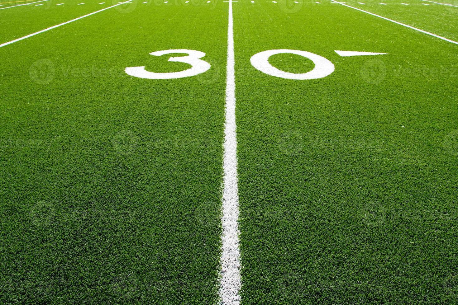 Amerikaanse voetbalveld dertig yard lijn foto