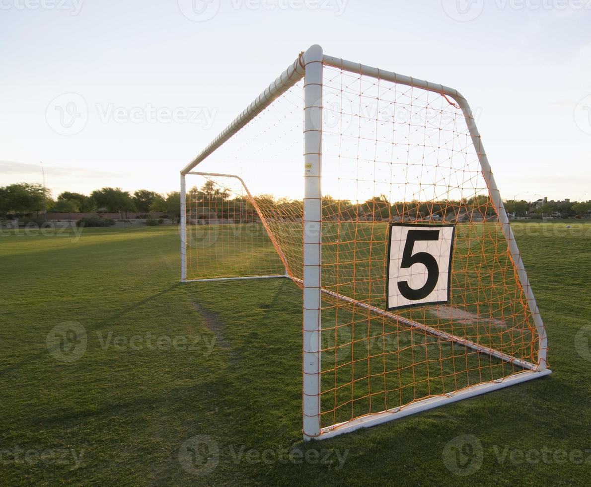 voetbalnet op veld foto
