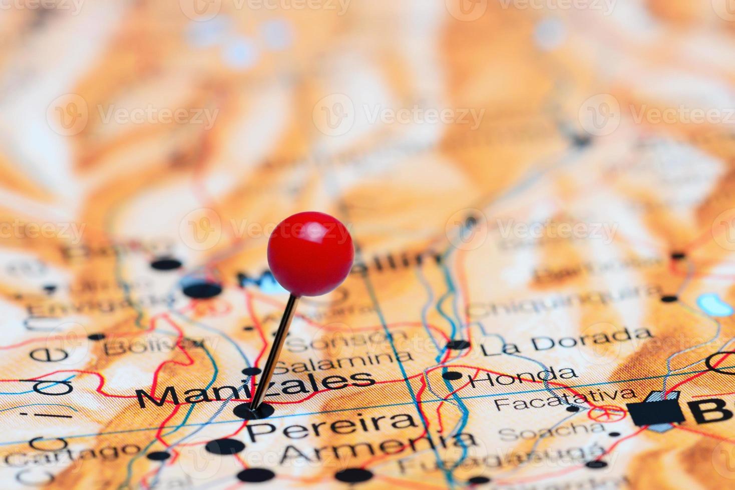 manizales vastgemaakt op een kaart van Amerika foto