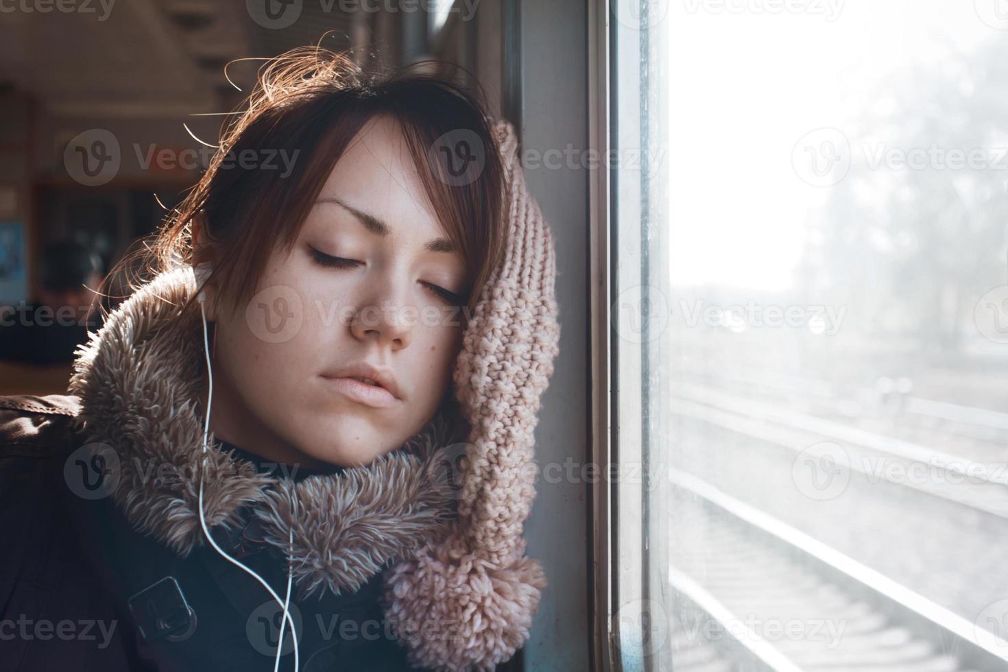 meisje op de trein foto
