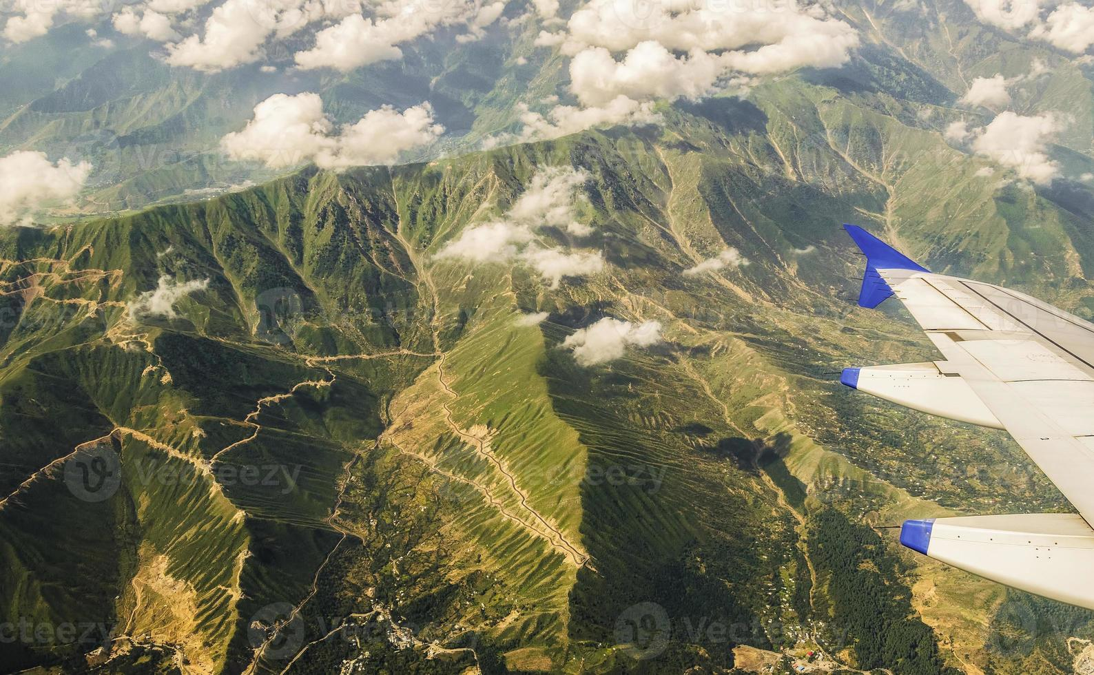 Himalaya luchtfoto vanuit het vliegtuig, Kasjmir, India foto