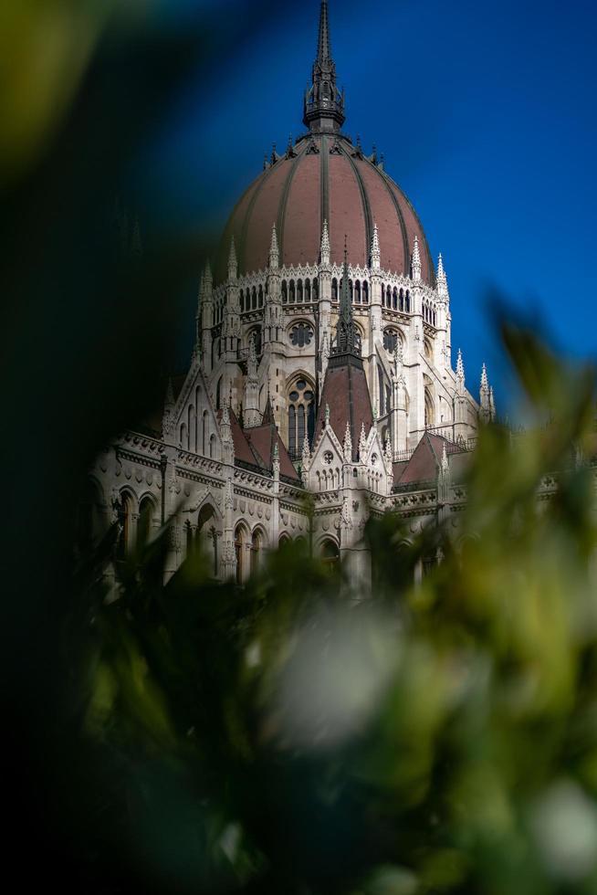 boedapest, hongarije, 2020 - hongaars parlement verborgen door bladeren foto