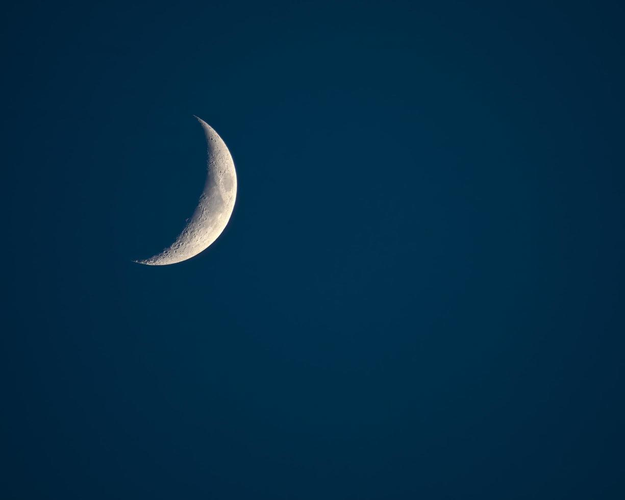 wassende wassende maan boven North Carolina foto