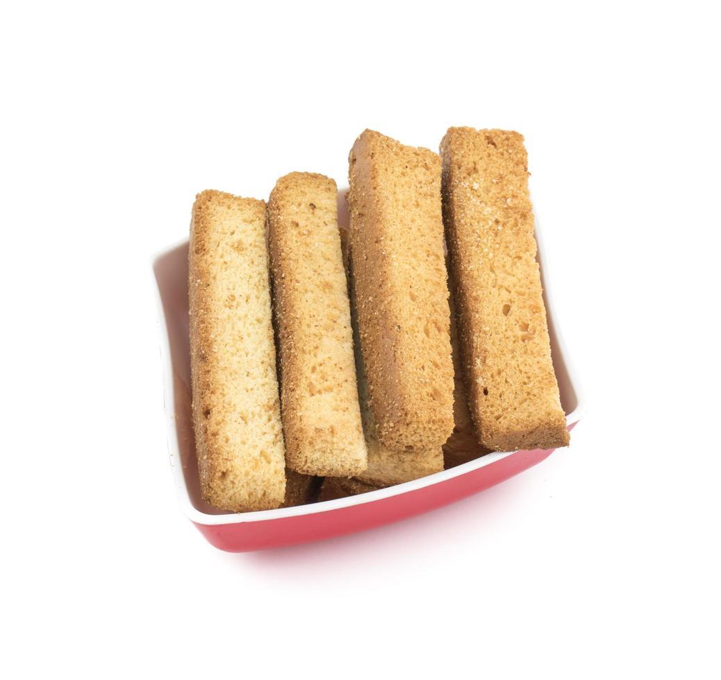 bovenaanzicht van Franse toast sticks in een kom foto