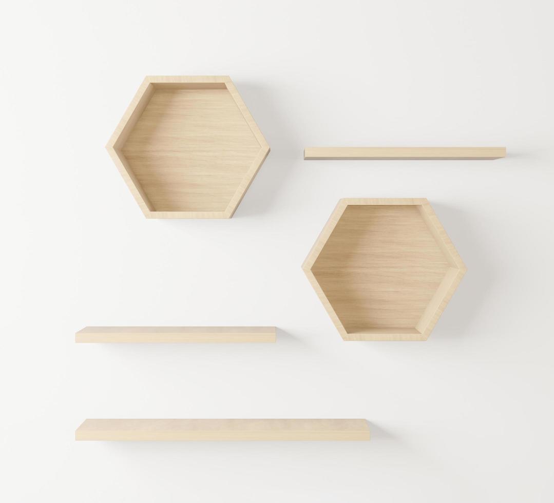 houten zeshoekige plank en lege plank foto