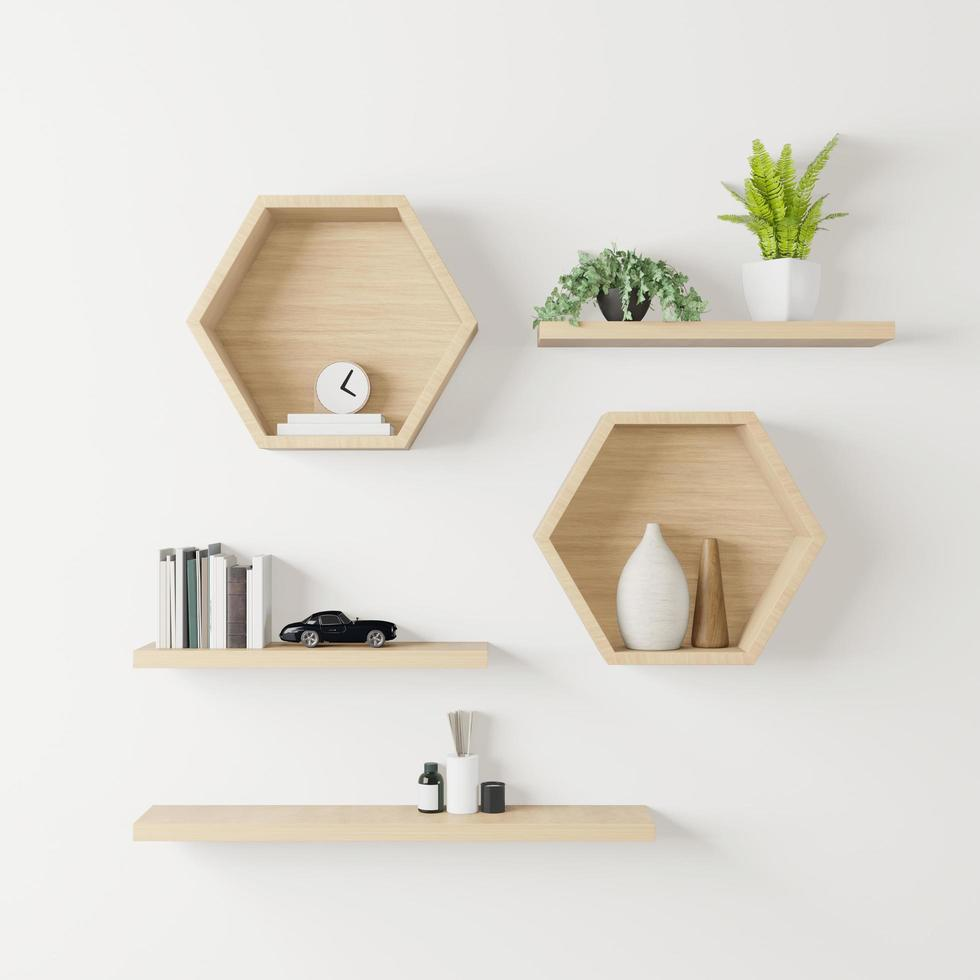 houten zeshoekige planken mockup foto
