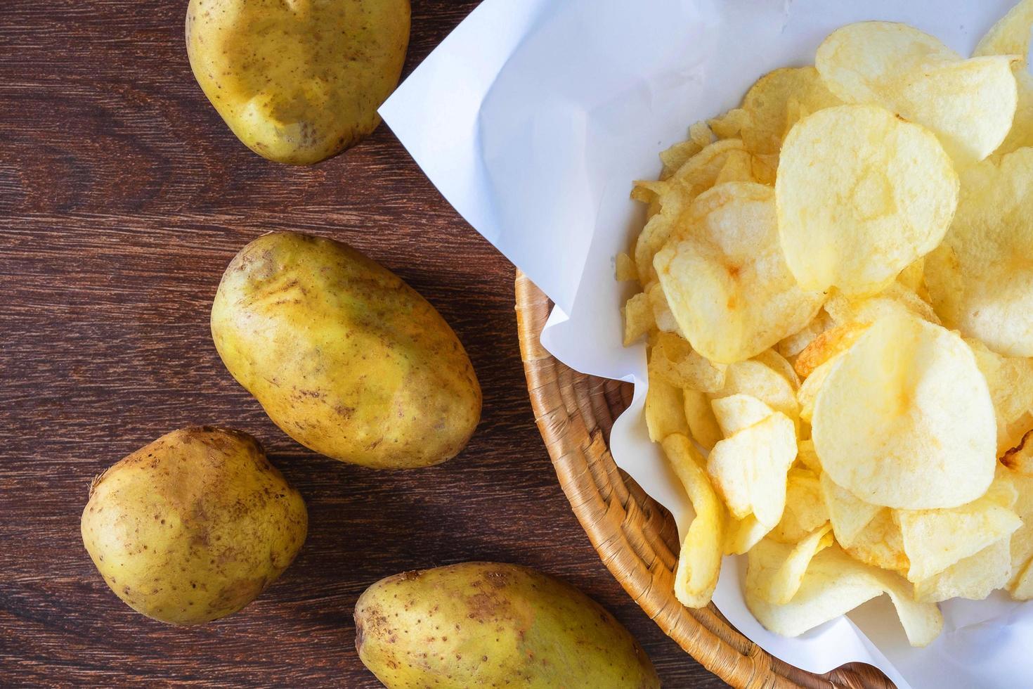 gebakken aardappelchips in mand foto