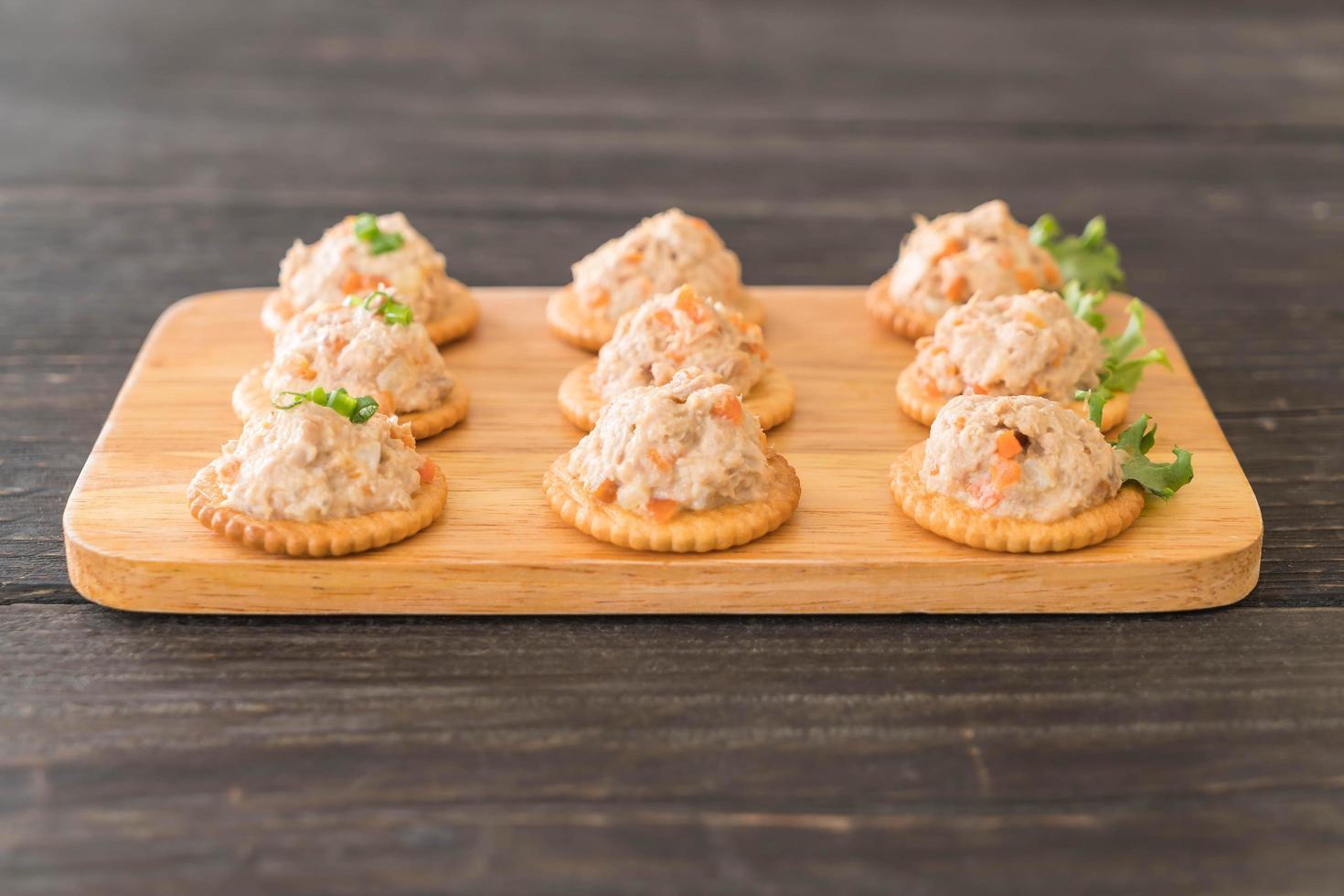 tonijnpasta met cracker foto