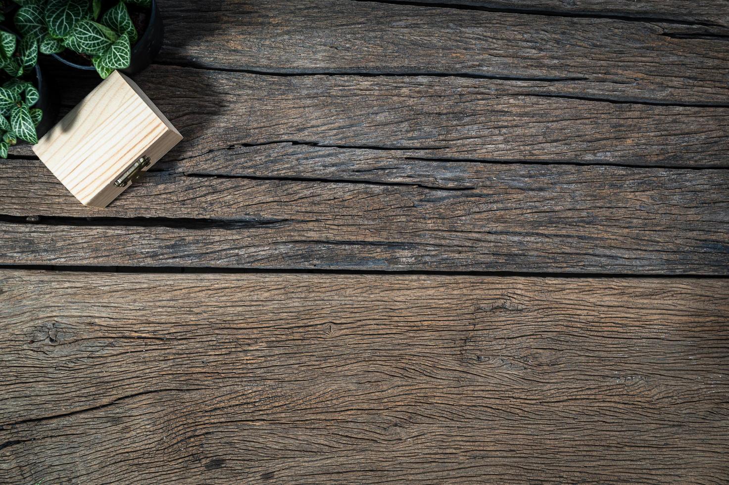 houten bureau, bovenaanzicht foto