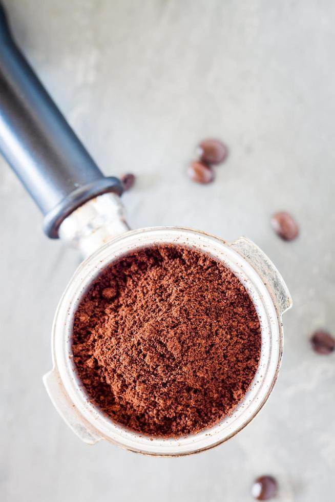 bovenaanzicht van een koffiemolen foto