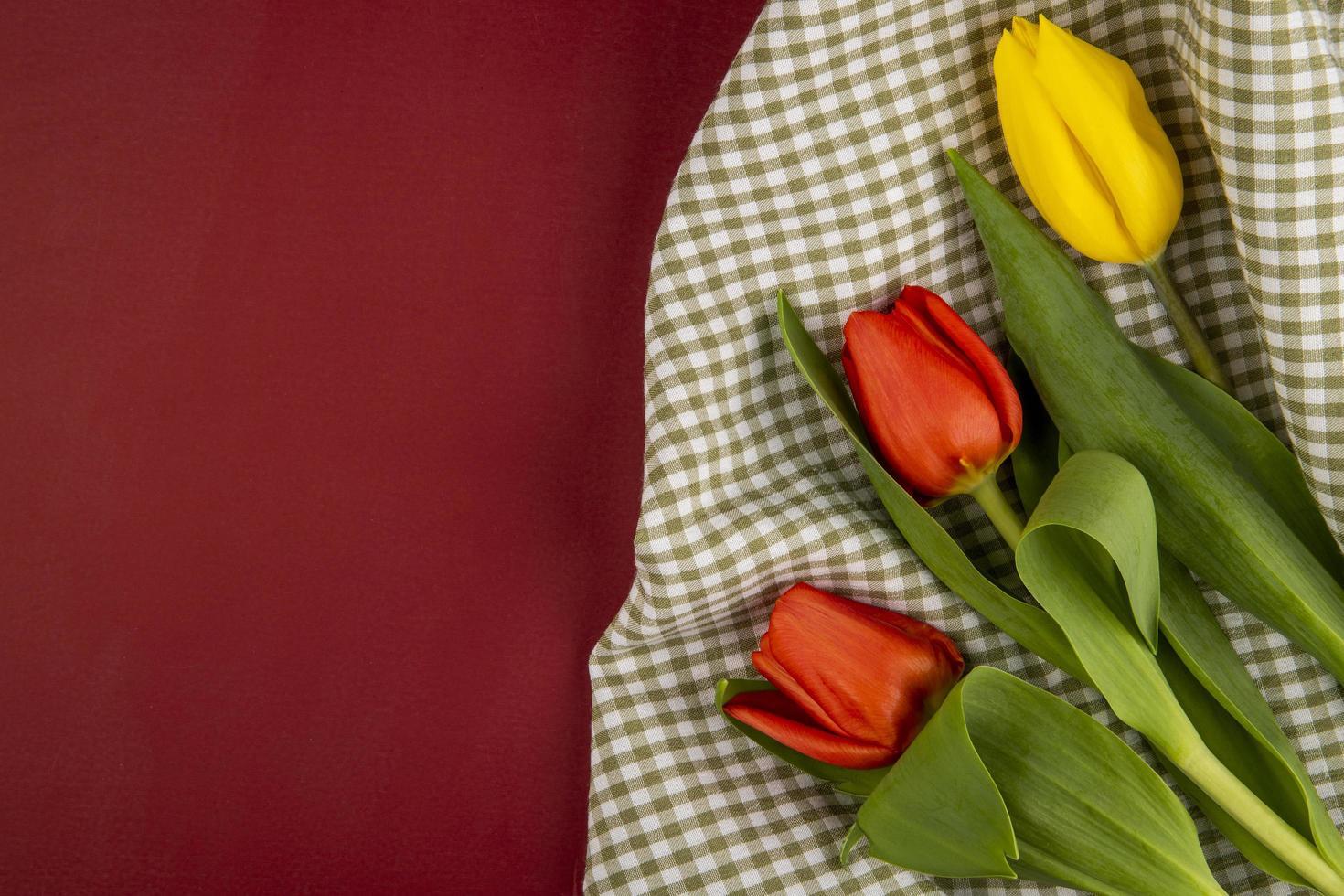 tulpen op een geruite doek en rode achtergrond foto