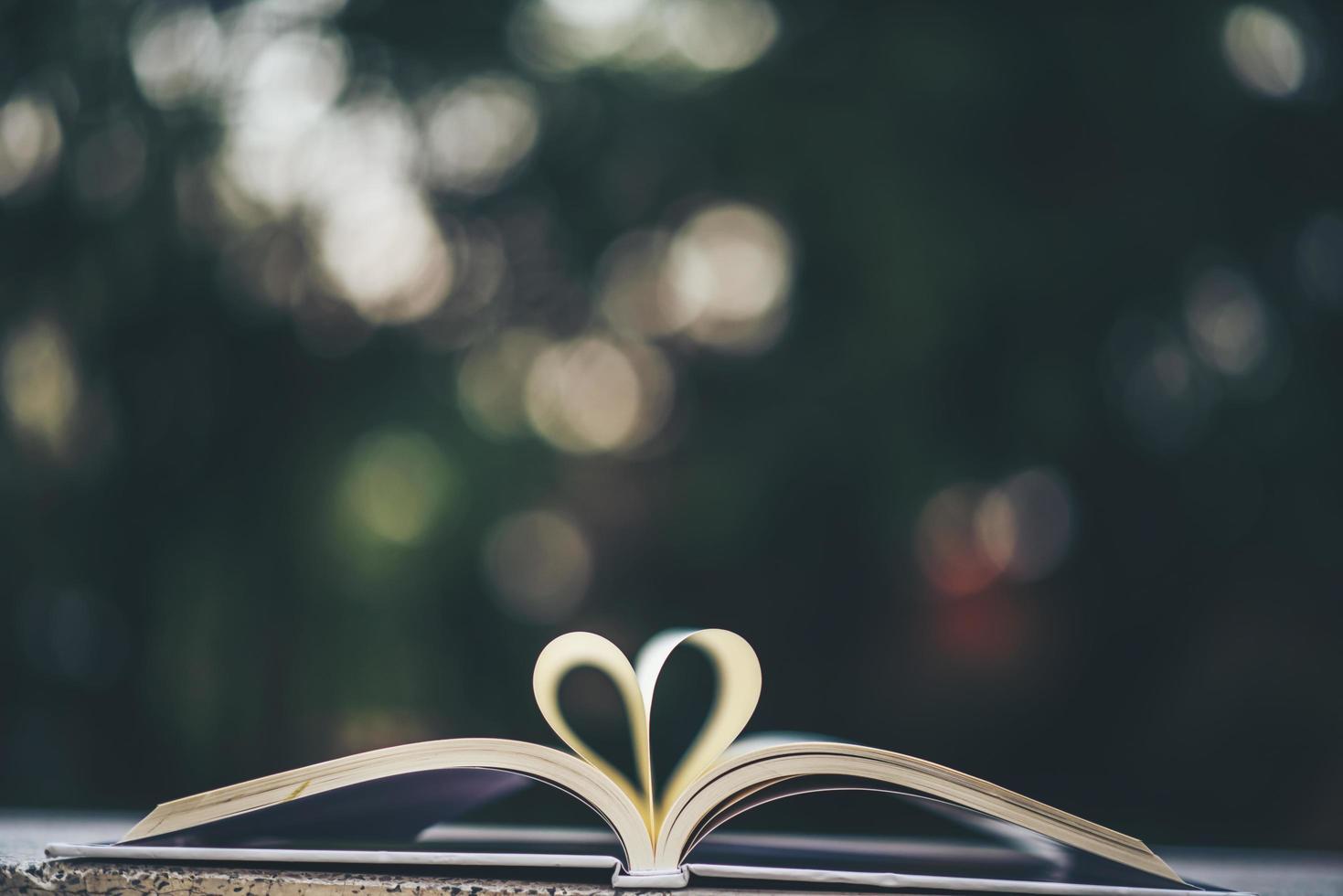 open boek met hartvorm foto