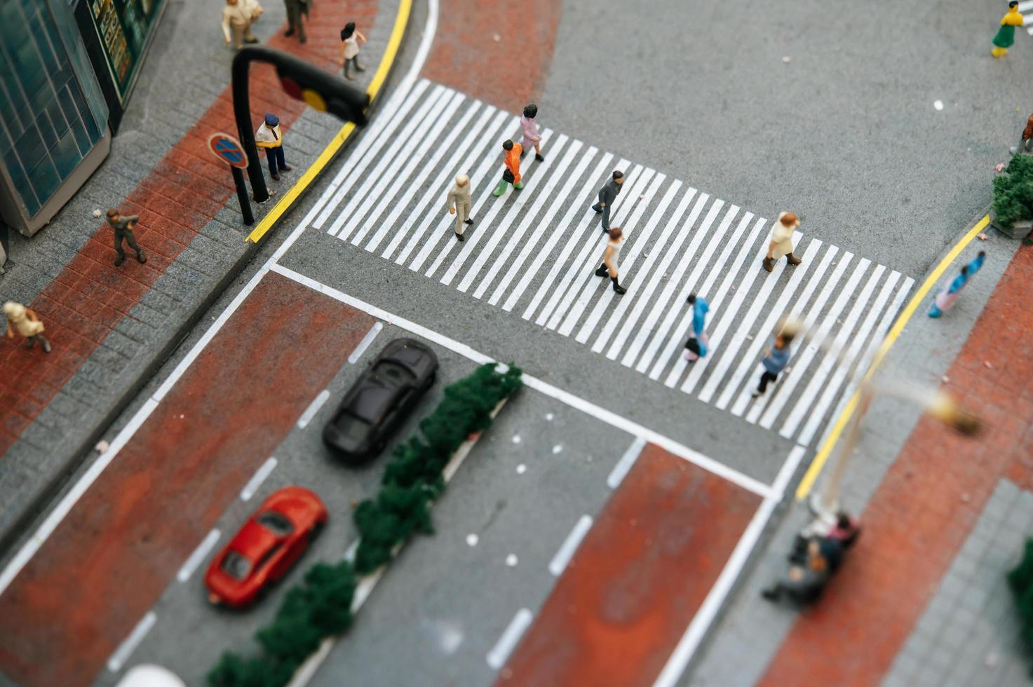 miniatuur tilt shift straatmensen foto
