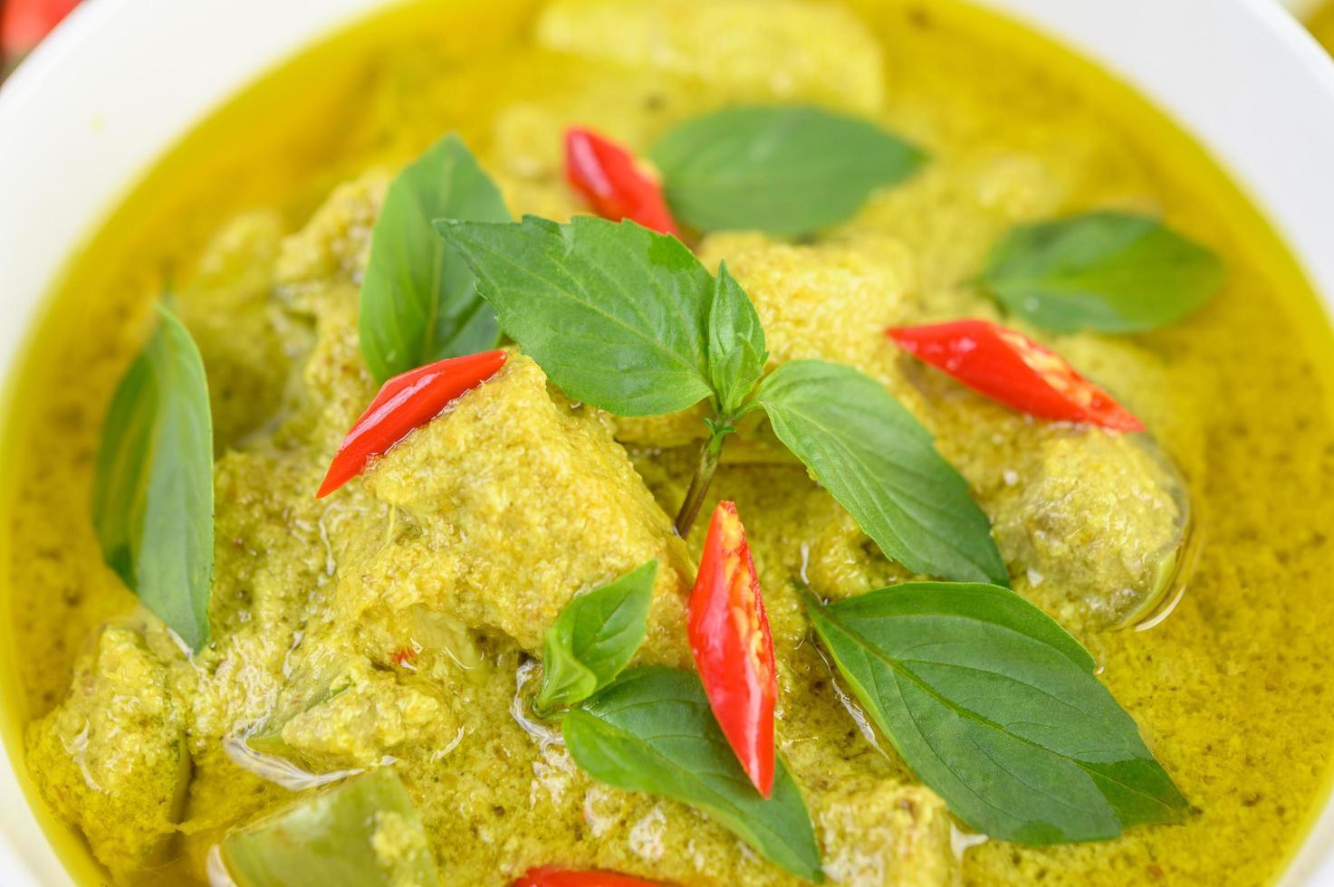 close-up van groene curry foto