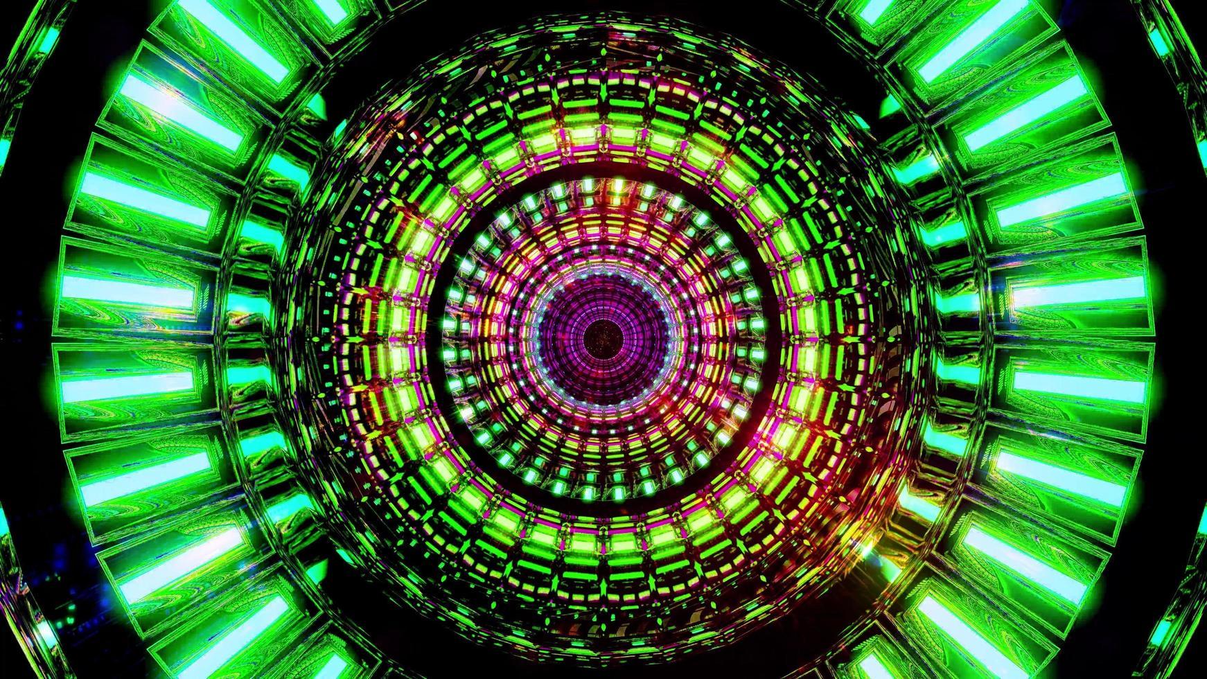 roterend ruimteontwerp met gloeiende neondeeltjes 3d illustratie achtergrondbehangontwerpkunstwerk foto