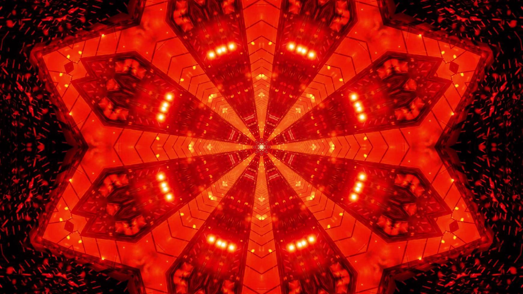abstracte rode ster tunnel 3d illustratie achtergrond behang ontwerp kunstwerk foto