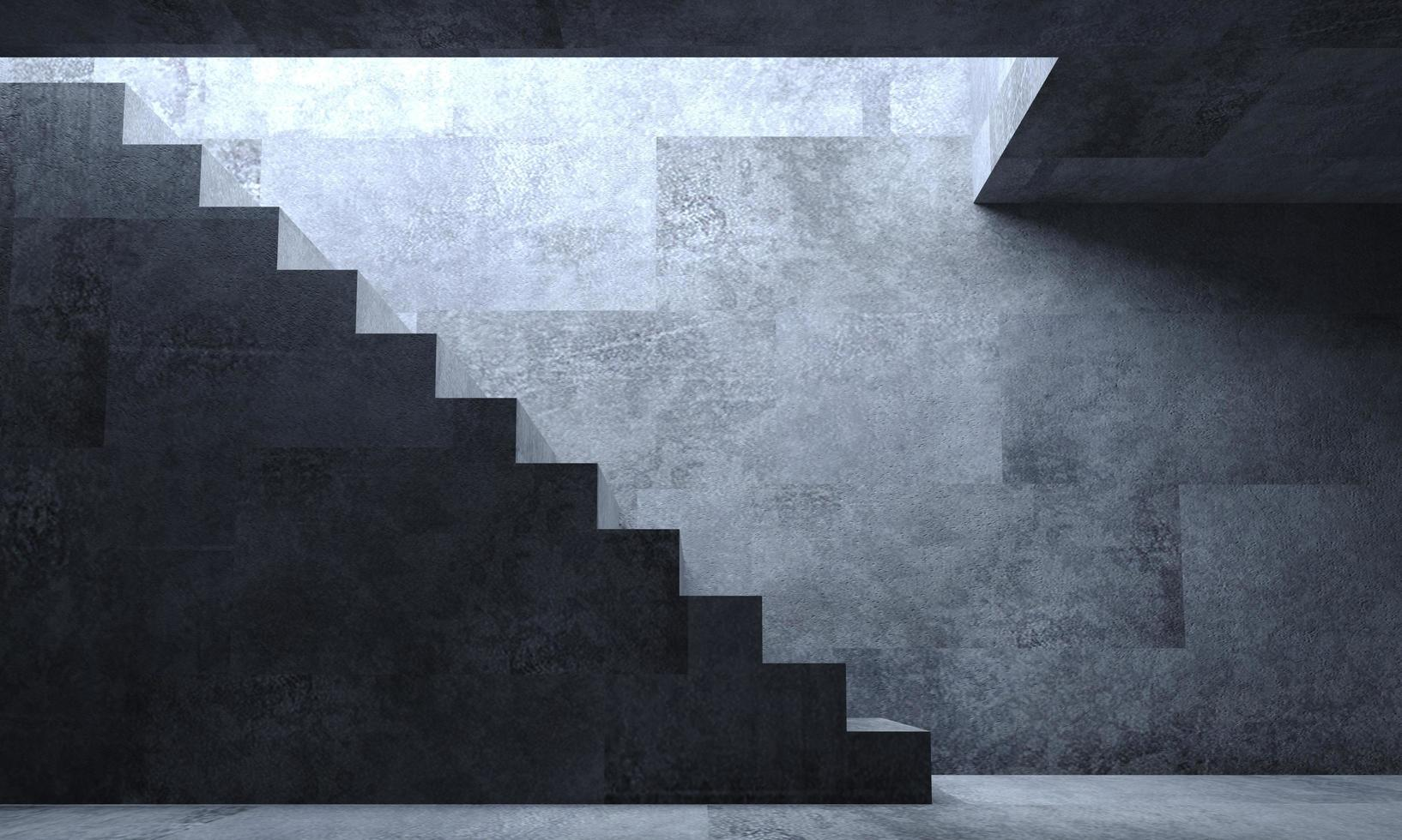 3d illustratie van donkergrijs trappenhuis foto