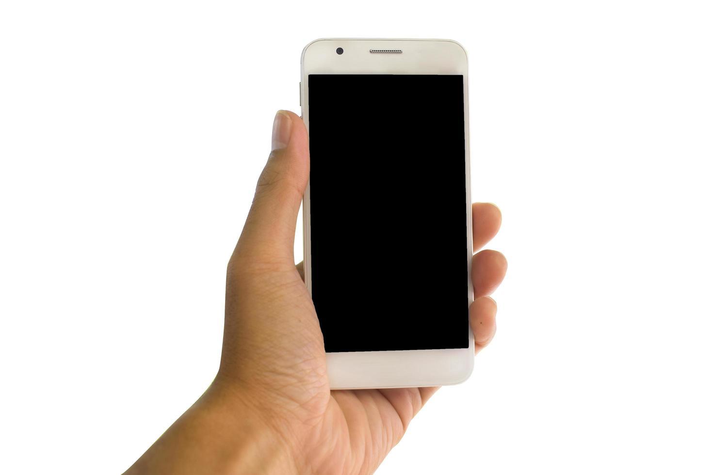hand met telefoon foto