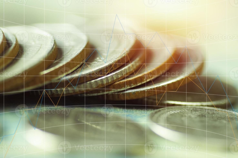 munten met grafiek-overlay foto