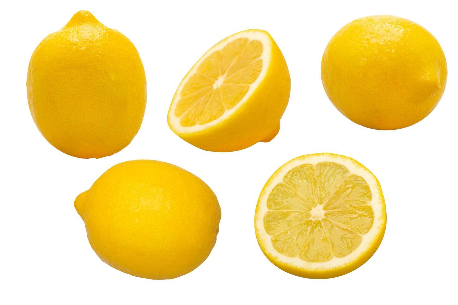 groep gele citroenen foto