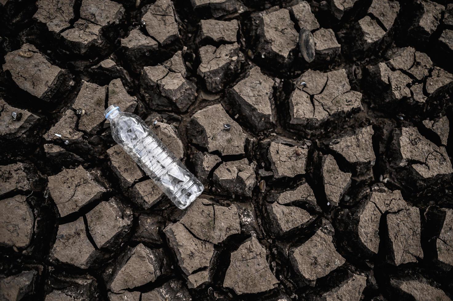 waterfles op droge grond met droog land foto