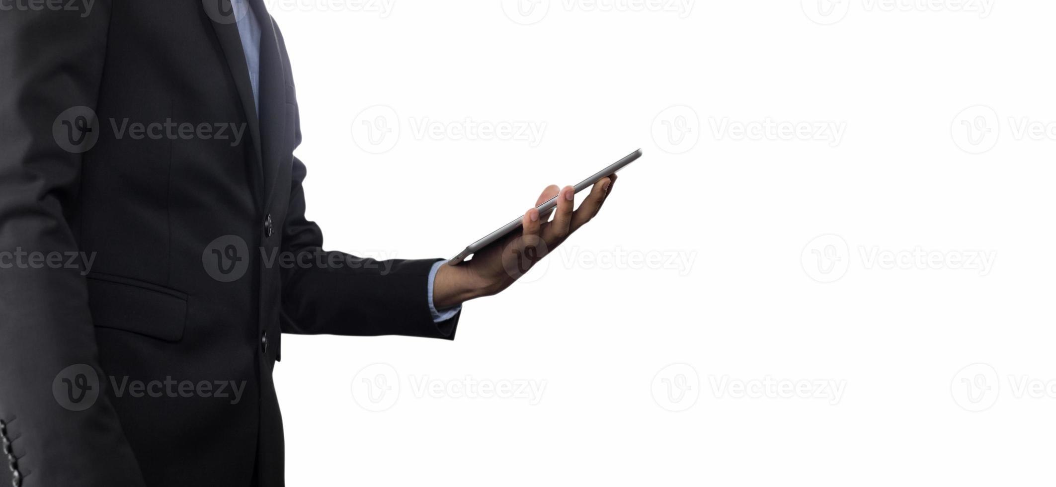 persoon met tablet op witte achtergrond foto