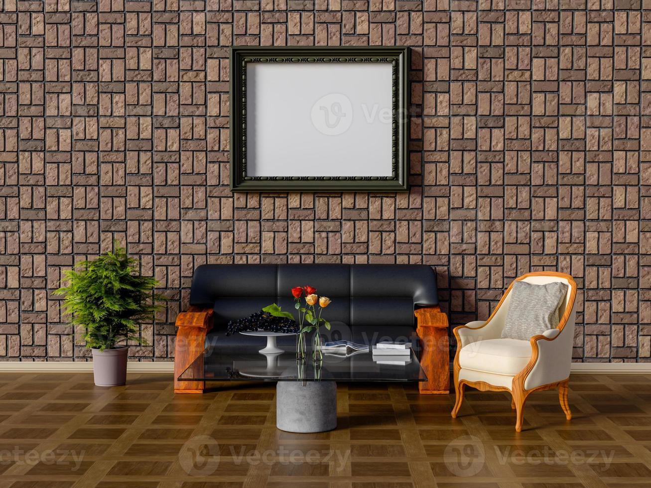 3D-weergave van mock-up frame in de woonkamer. foto