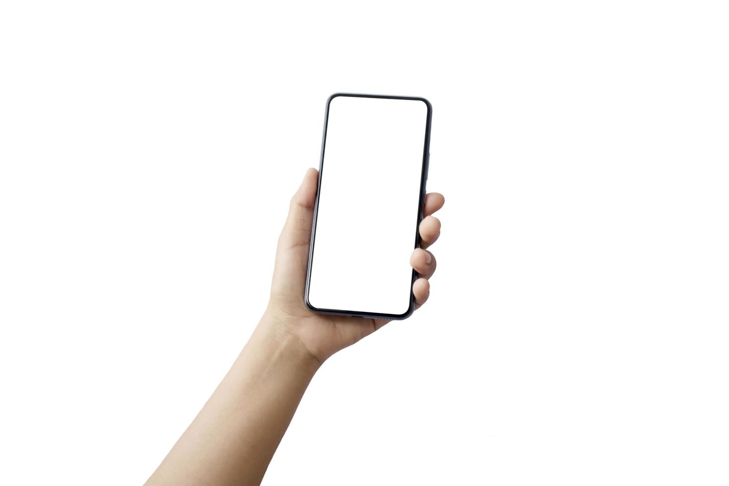 mobiele smartphone met stijlvol design en een leeg scherm geïsoleerd op een witte achtergrond met het uitknippad foto