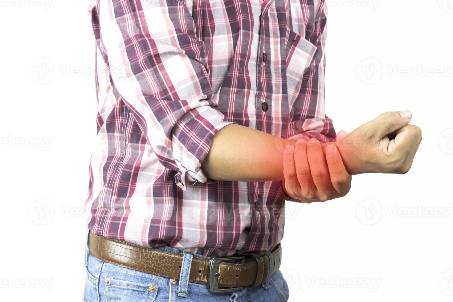 man die lijdt aan handpijn foto