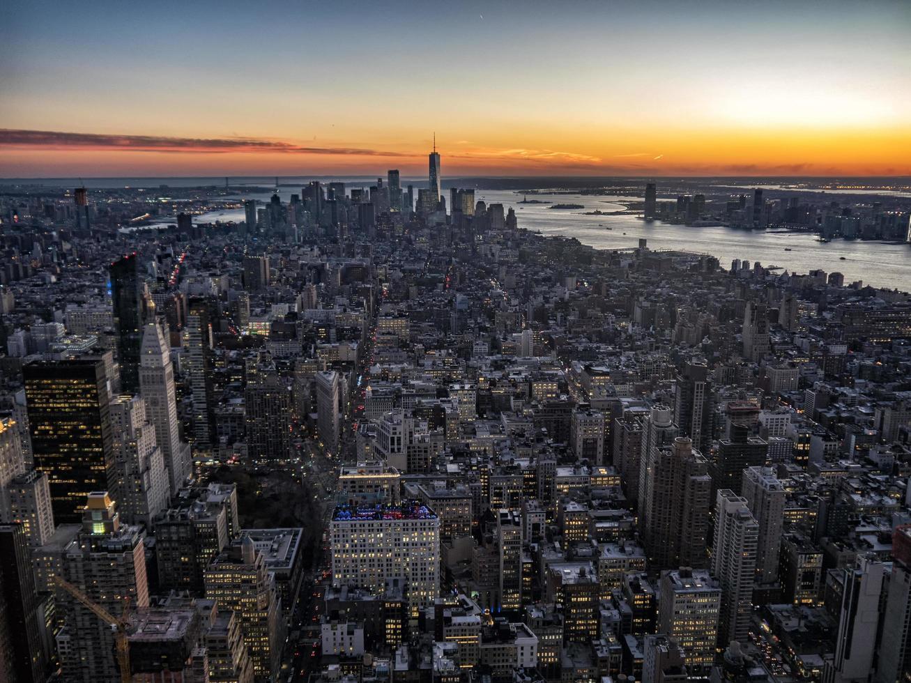 skyline van Manhattan van bovenaf foto