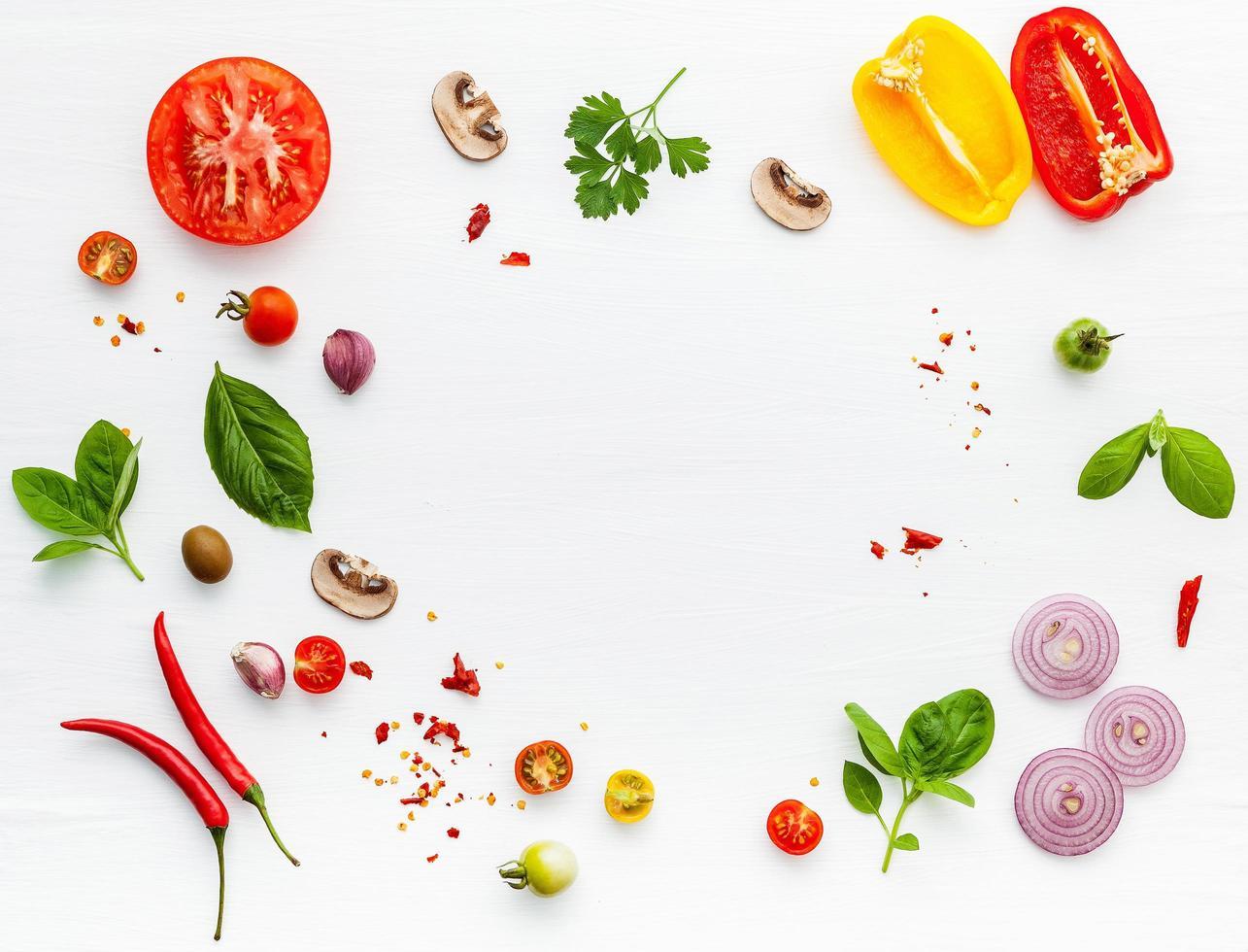 frame van ingrediënten voor pizza foto