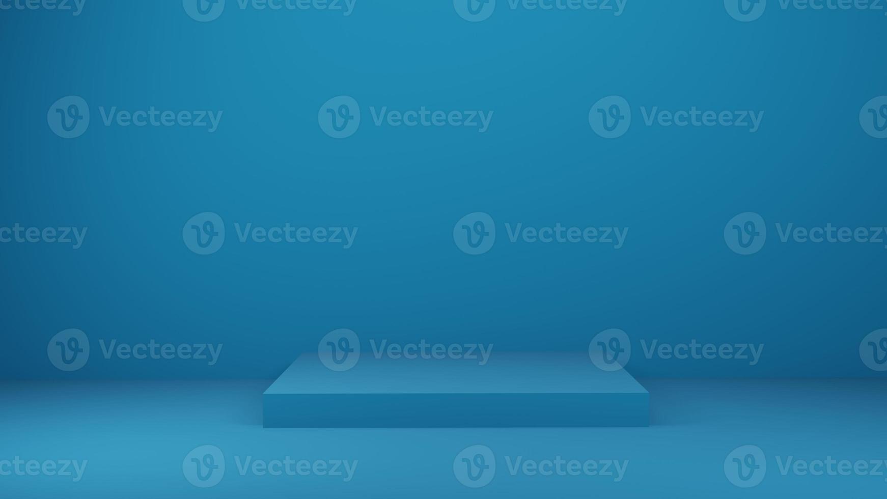 3D-weergave van blauw podium op blauwe muur foto