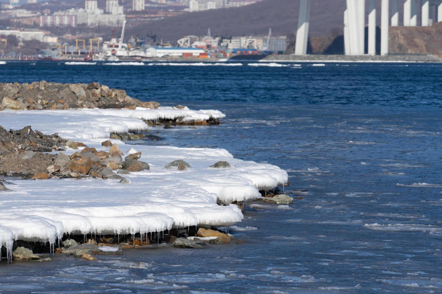 zeegezicht met besneeuwde kustlijn en watermassa foto