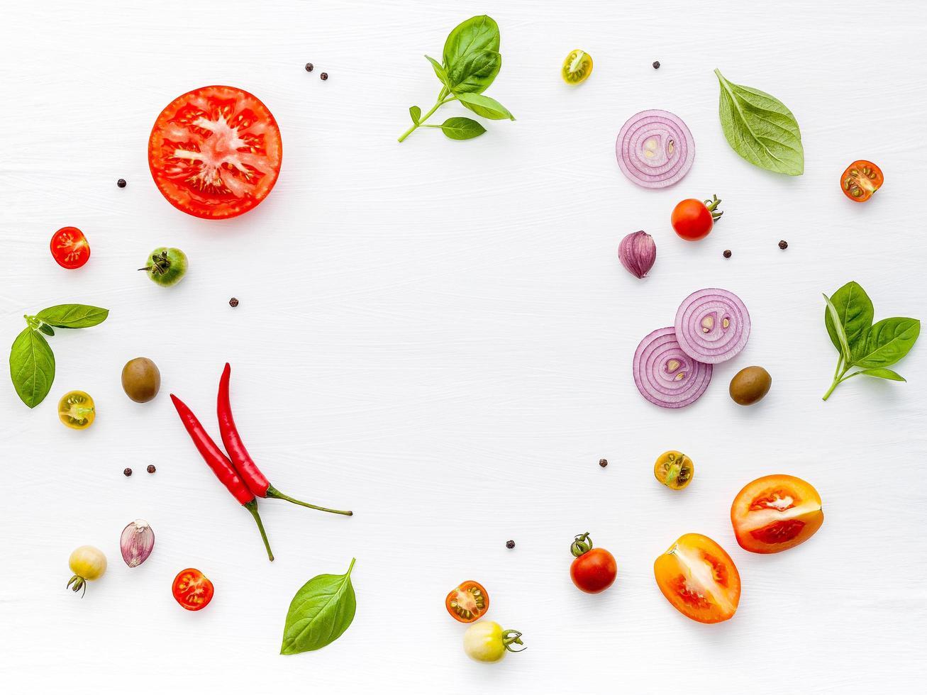 verse ingrediënten in een cirkel foto
