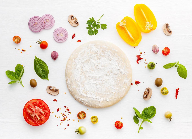 verse pizza-ingrediënt plat leggen foto