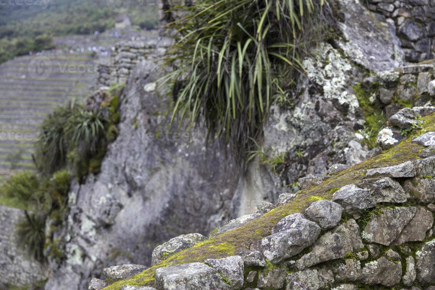 stenen muur in peru foto