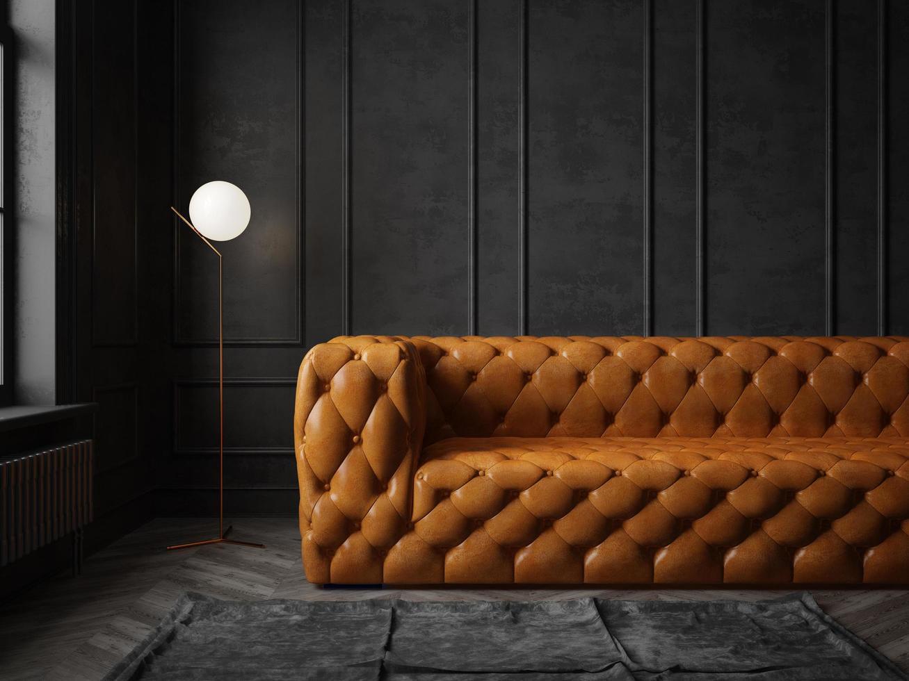zwart gekleurde conceptuele interieur kamer in 3d illustratie foto