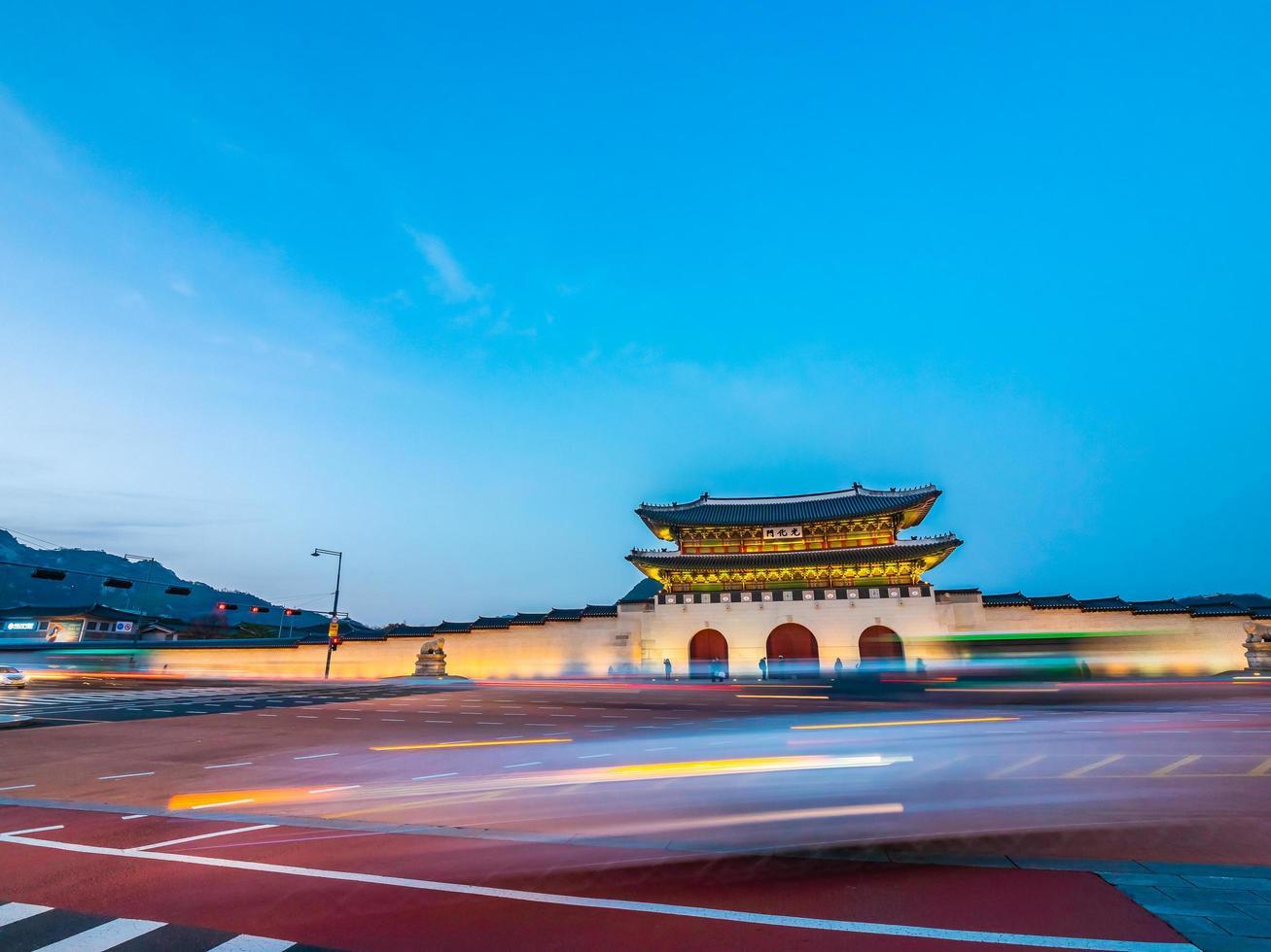 gyeongbokgung paleisoriëntatiepunt van de stad van seoel in zuid-korea foto
