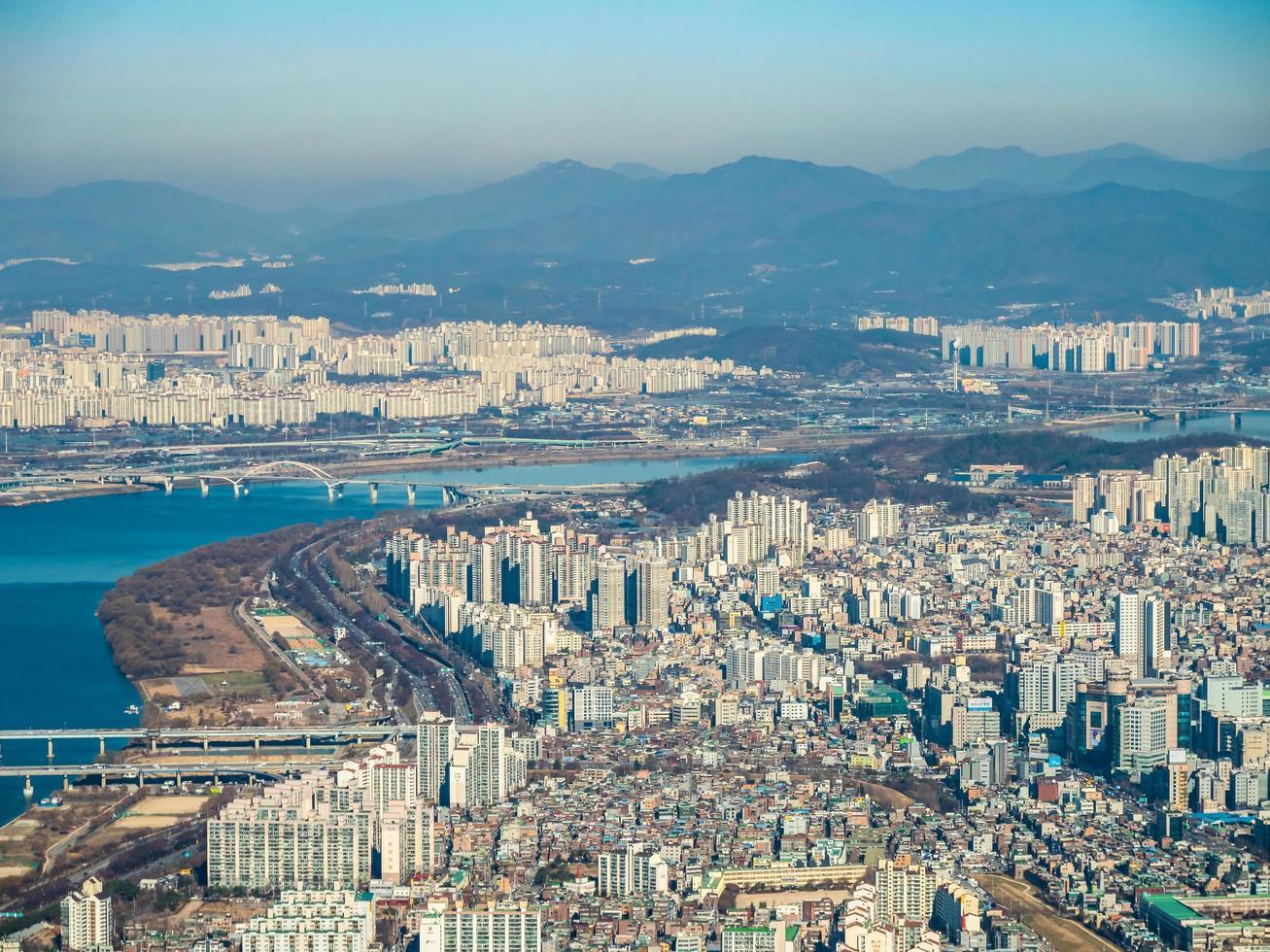 luchtfoto van seoul city, zuid-korea foto