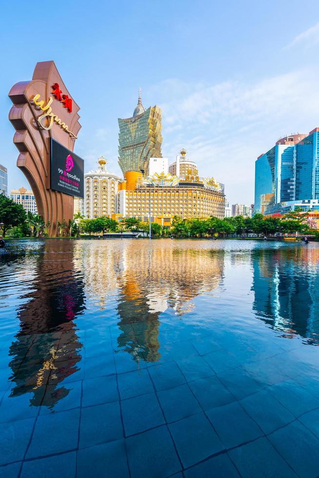 stadsgezicht bij whynn hoteltoevlucht en casino in de stad van macao, china foto
