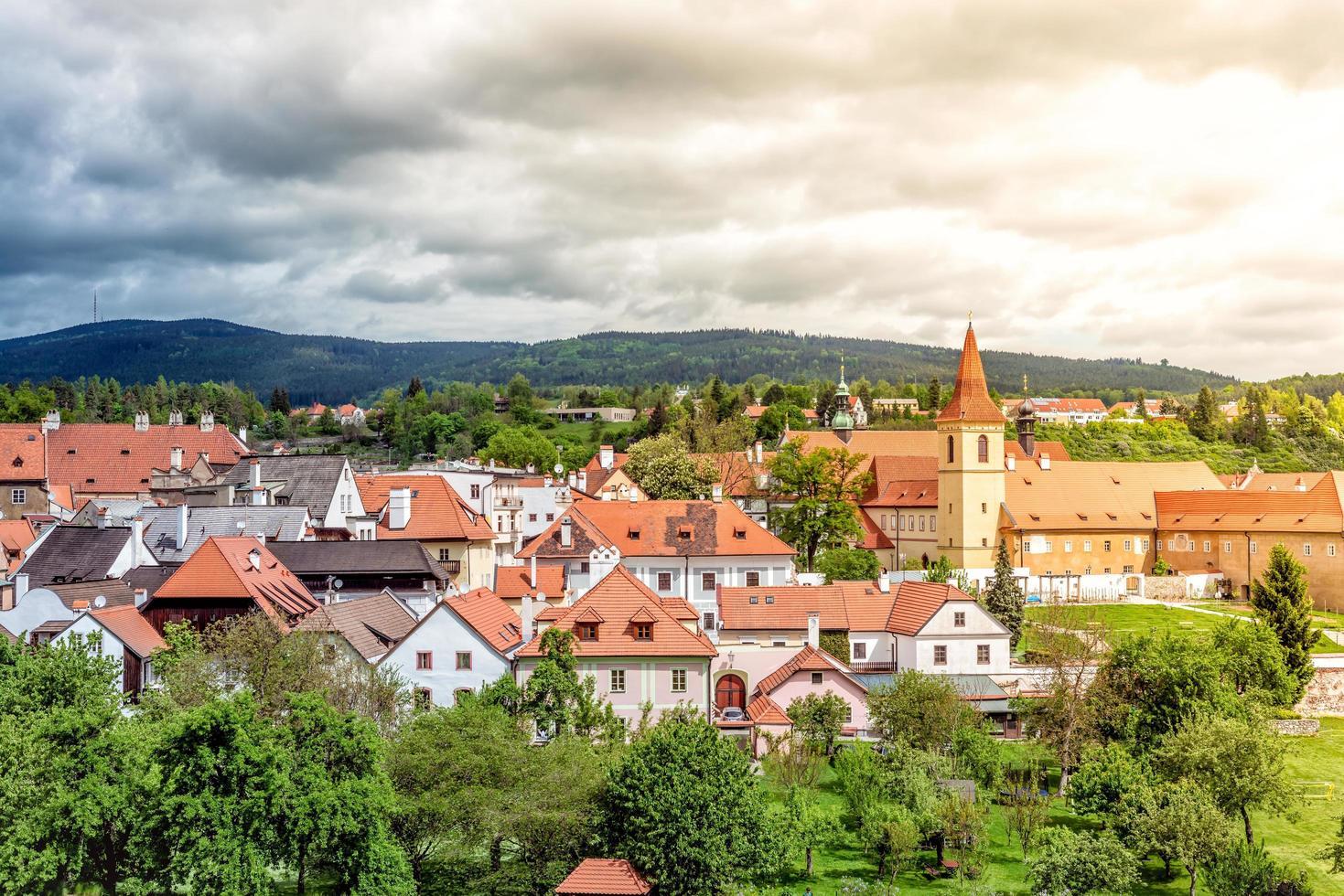 uitzicht op de oude stad Cesky Krumlov in Tsjechië foto