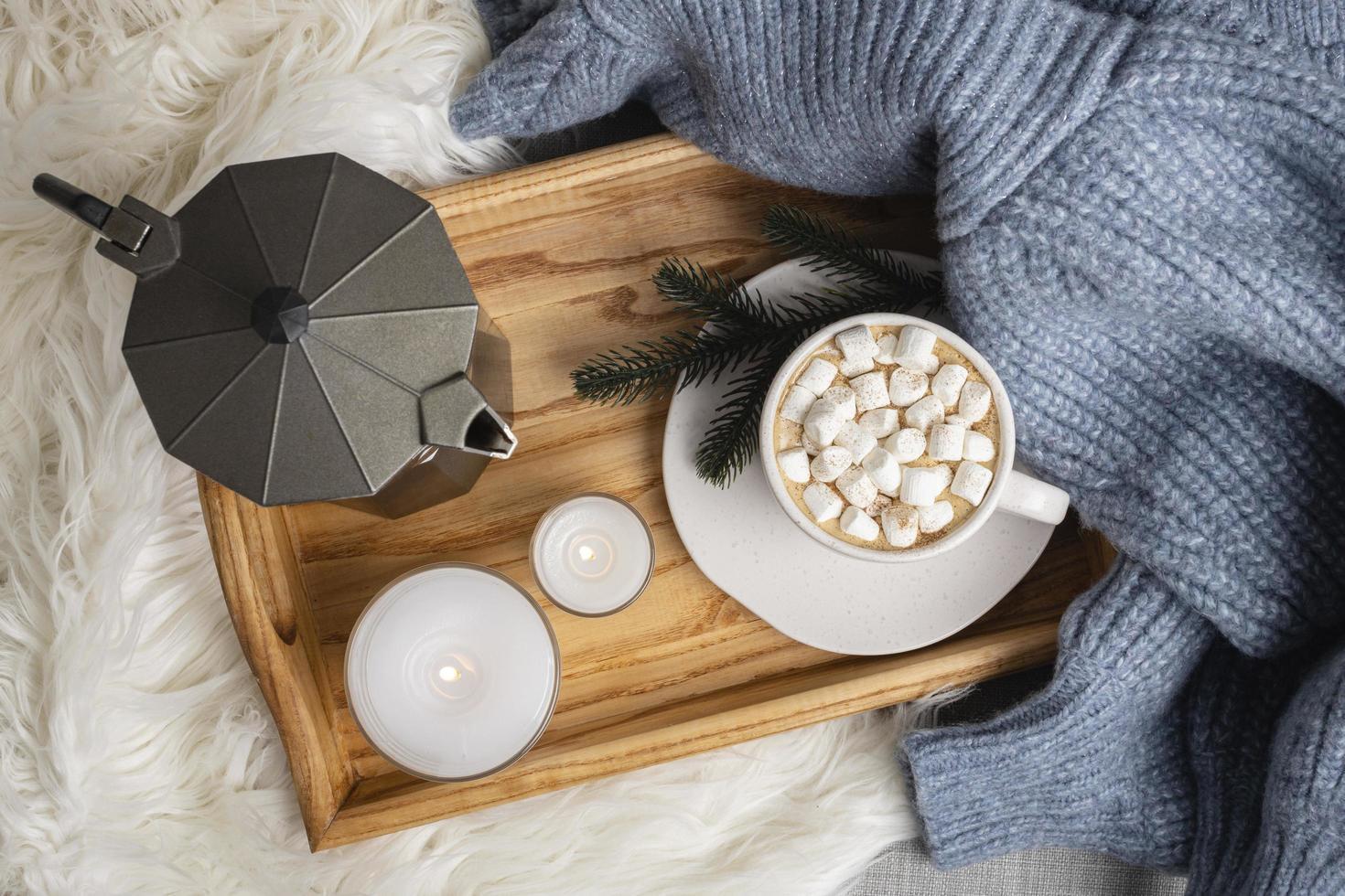 gezellig warme chocolademelk concept foto