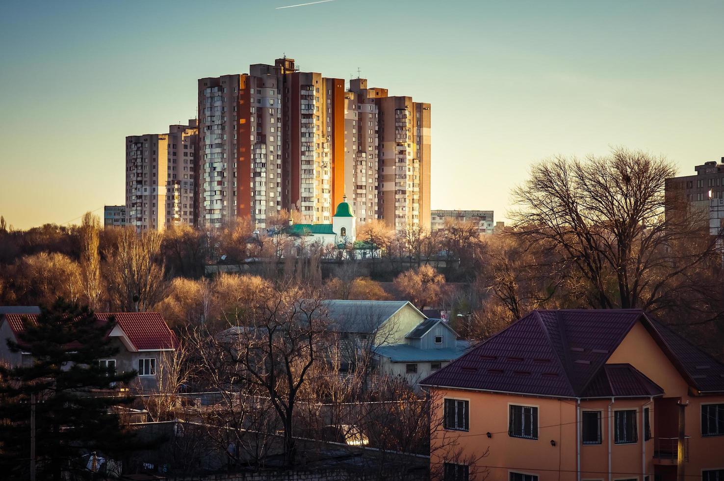Moldavië residentiële avond skyline foto