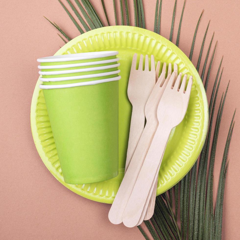 groen serviesgoed zonder afval foto