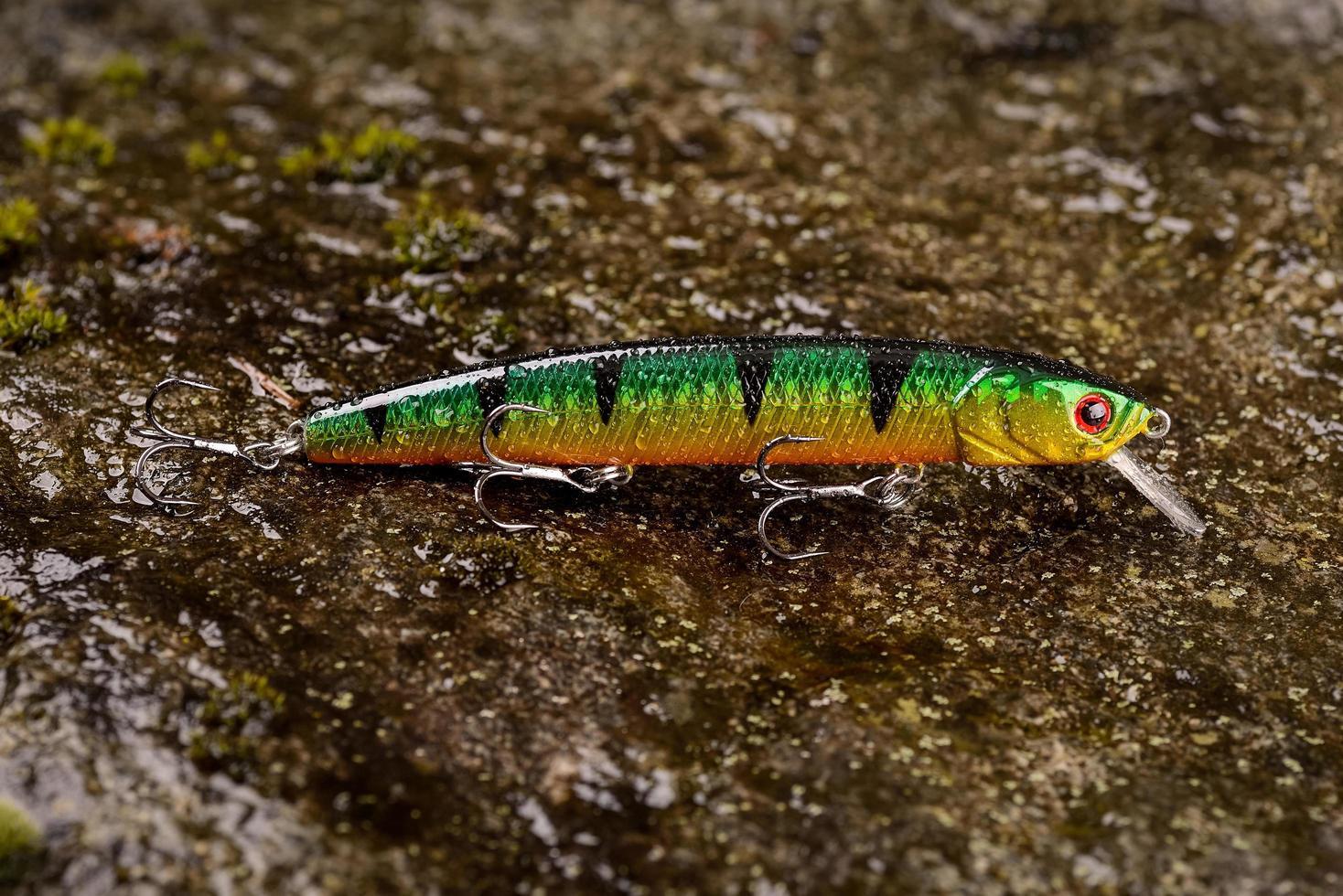 vissen lokken wobbler op een natte steen met mos foto
