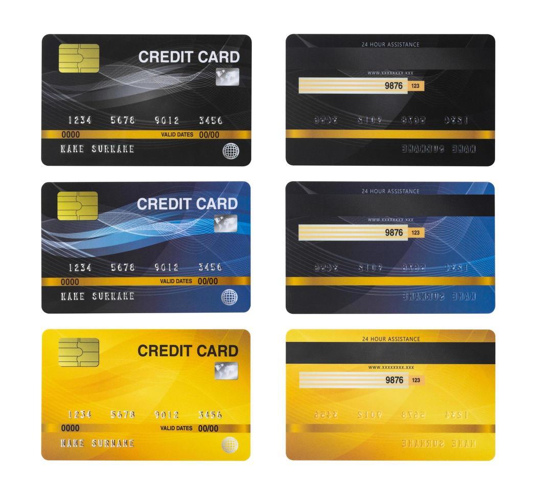 set van creditcards geïsoleerd op een witte achtergrond foto