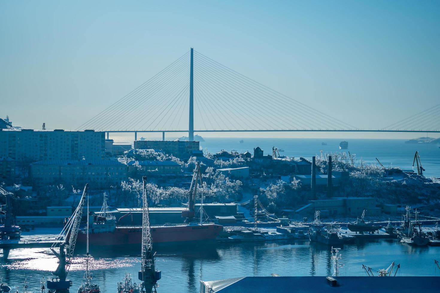 zeegezicht met uitzicht op een haven en de russky brug tegen een heldere blauwe hemel in Vladivostok, Rusland foto