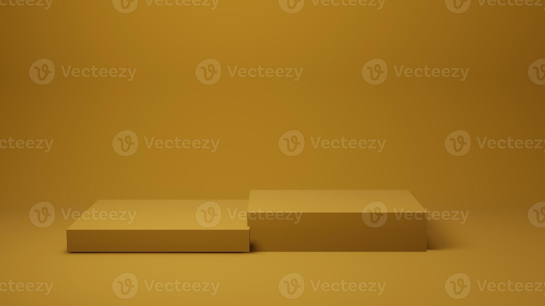geel podium of platform voor productpresentatie op gele achtergrond foto