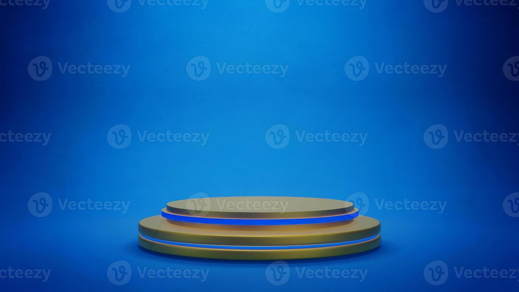 gouden podium of platform voor productpresentatie op blauwe achtergrond foto