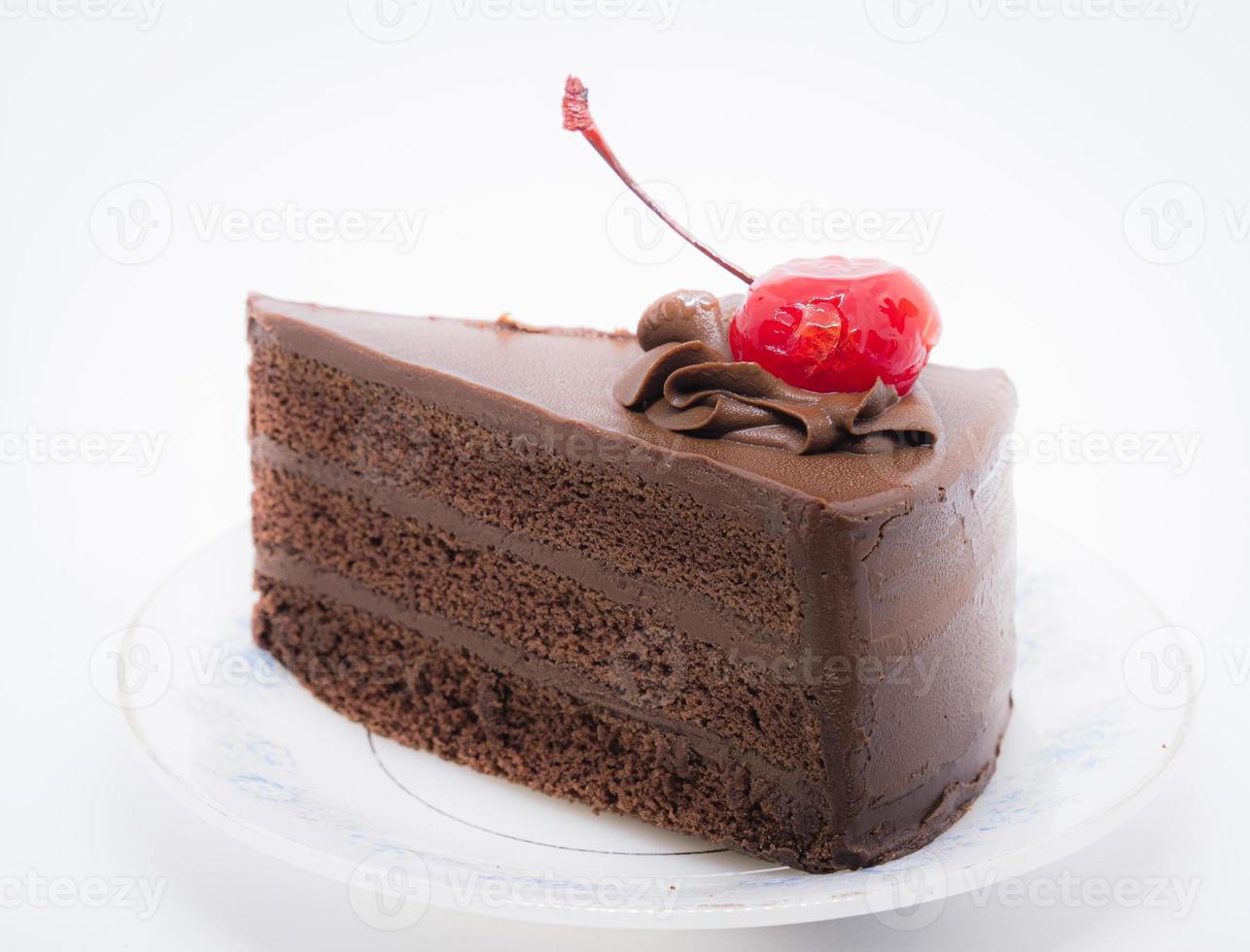 chocalate cake met kers op de top foto